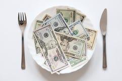 O dinheiro não pode ser comido Fotografia de Stock Royalty Free