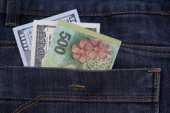 O dinheiro nos bolsos de calças, dólares nas calças de brim pockets Fotografia de Stock Royalty Free