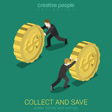 O dinheiro recolhe e salvar o vetor infographic isométrico do conceito da Web 3d lisa Imagem de Stock