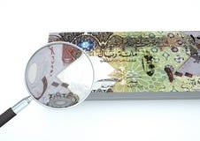 o dinheiro rendido 3D de Catar com a lente de aumento investiga a moeda isolada no fundo branco ilustração do vetor