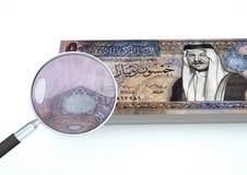 o dinheiro rendido 3D de Jordânia com a lente de aumento investiga a moeda isolada no fundo branco ilustração do vetor
