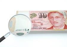 o dinheiro rendido 3D de Singapura com lente de aumento investiga a moeda no fundo branco Fotografia de Stock Royalty Free