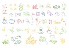 O dinheiro tirado mão das ilustrações do vetor inventa contas Elementos do projeto da garatuja ilustração do vetor