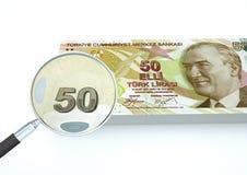 o dinheiro turco rendido 3D com lente de aumento investiga a moeda no fundo branco Fotografia de Stock Royalty Free