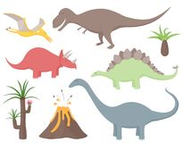 O dinossauro ajustou-se com tiranossauro Rex, Stegosaurus, Triceratops, Diplodocus, Pteradactyl, as plantas pré-históricas e o vu ilustração do vetor