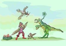 O dinossauro cômico roubou os ovos dos pássaros Fotografia de Stock Royalty Free
