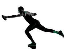 O disco do peso do crossfit do homem exercita a silhueta Imagem de Stock Royalty Free