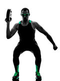 O disco do peso do crossfit do homem exercita a silhueta Foto de Stock Royalty Free