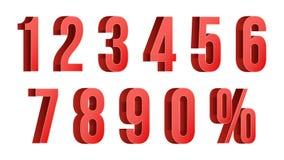 o disconto 3D vermelho numera o vetor percent Números de 0 a 9 Imagem de Stock Royalty Free