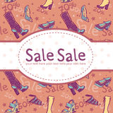 O disconto da venda calç o cartão Imagens de Stock Royalty Free