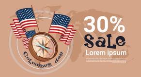 O disconto feliz América da compra de Columbus Day Seasonal Holiday Sale descobre o cartão do cartaz ilustração stock