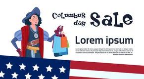 O disconto feliz América da compra de Columbus Day Seasonal Holiday Sale descobre o cartão do cartaz ilustração do vetor