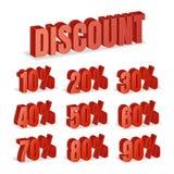 O disconto numera o vetor 3d Grupo vermelho do ícone da porcentagem da venda no estilo 3D isolado no fundo branco Foto de Stock