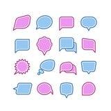 O discurso borbulha, conversação, grupo do vetor dos ícones do diálogo do texto do bate-papo ilustração stock
