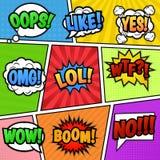 O discurso borbulha etiquetas no fundo colorido Fotos de Stock