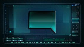 O discurso borbulha na tela dos dados do computador de relação da tecnologia, interface de utilizador gráfica ilustração do vetor