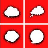 O discurso branco nubla-se com sombra pontilhada no vermelho Imagem de Stock Royalty Free