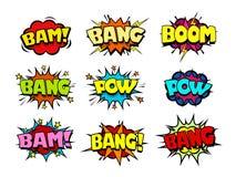 O discurso da banda desenhada borbulha, explosão fresca e deixa de funcionar o efeito sadio Imagens de Stock