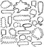 O discurso desenhado mão borbulha esboço Imagem de Stock Royalty Free