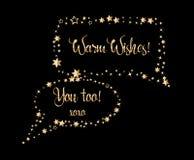 O discurso do ar do ouro borbulha formulário retangular com brilhos e sparkles Foto de Stock