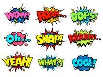 O discurso do efeito sadio da banda desenhada borbulha, admirando-se e apreciando de expressões Foto de Stock