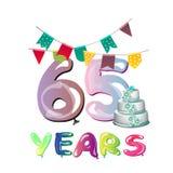 65.o diseño del logotipo de la celebración del aniversario Foto de archivo libre de regalías
