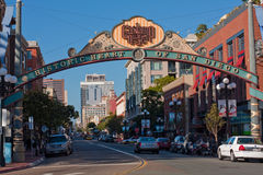 O distrito de Gaslamp assina dentro San Diego, Califórnia Foto de Stock Royalty Free