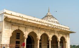 O Diwan-i-Khas ou o Salão de audiências privadas no forte vermelho de Deli, Índia fotos de stock royalty free