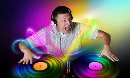 O DJ joga um conceito do vinil Imagens de Stock Royalty Free