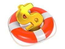 O dólar assina dentro Lifebuoy vermelho. Isolado no branco. Fotografia de Stock Royalty Free