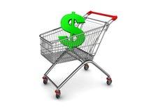 O dólar assina dentro o carro de compra Fotos de Stock Royalty Free