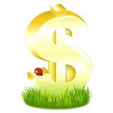 O dólar dourado assina dentro a grama com Foto de Stock Royalty Free