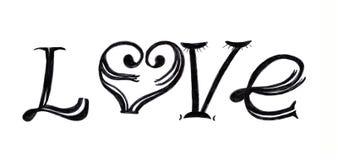 O ` do amor do ` da inscrição em um fundo branco fotos de stock