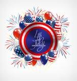 4o do cartão do Dia da Independência de julho, da bandeira ou do molde do convite Botão redondo com balões patrióticos e Foto de Stock