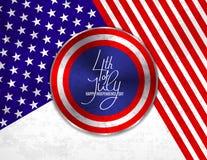 4o do cartão do Dia da Independência de julho, da bandeira ou do molde do convite Web redonda das ovas do botão com cores patriót Fotos de Stock