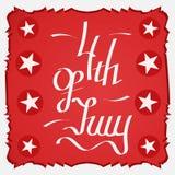 4o do cartão vermelho de julho Imagem de Stock Royalty Free