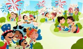 4o do cartaz de julho com comemoração de povos Ilustração do vetor no estilo liso da caixa ilustração royalty free