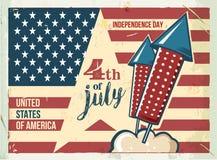 4o do cartaz de julho Sinal retro do metal do Grunge com fogos-de-artifício Fundo do grunge da independência Day Inseto da celebr Fotos de Stock