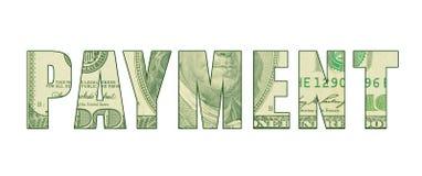 O ` do PAGAMENTO do ` da palavra com o teste padrão do dinheiro ilustração royalty free