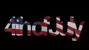 4o do subtítulo de julho e da animação de ondulação da introdução da bandeira americana 4K ilustração royalty free