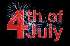 4o do texto do vermelho de julho Foto de Stock Royalty Free