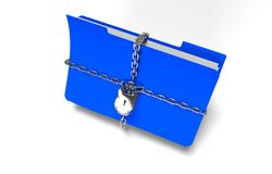 O dobrador com corrente e cadeado, dados escondidos, segurança, 3d rende Foto de Stock Royalty Free