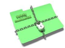 O dobrador com corrente e cadeado, dados escondidos, segurança, 3d rende Imagem de Stock Royalty Free