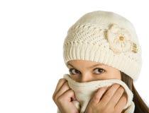 O doente da mulher de uma gripe Fotos de Stock