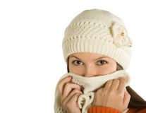 O doente da mulher de uma gripe Imagens de Stock Royalty Free