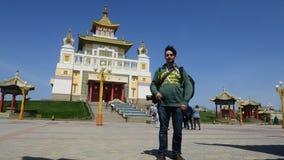 O domicílio dourado complexo budista da Buda Shakyamuni Calmúquia, Rússia video estoque