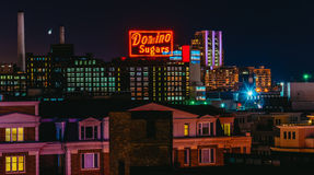 O dominó adoça a fábrica na noite do monte federal, Baltimore, Imagens de Stock