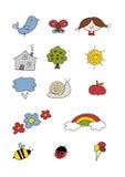 O Doodle ajustou-se: HOME feliz Foto de Stock Royalty Free