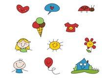 O Doodle ajustou-se: Verão Imagens de Stock Royalty Free