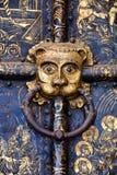 O ` dos leões dirige nos punhos das portas douradas Fotos de Stock Royalty Free